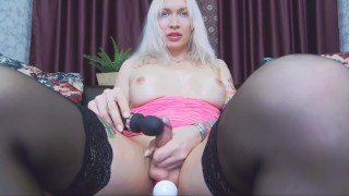 Busty russian shemale Eva Lynx masturbates with one vibro toy in butt and magick wand