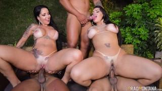 Orgia na piscina com as duas estrelas rabudas do pornô Elisa Sanches e Angel Lima