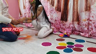 Holi Special - fuck hard priya in holi occasion with hindi roleplay - YOUR PRIYA