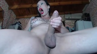 Hard Masturbation with piss and water cum Shemale wanker