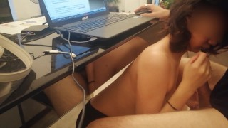 sucking my professors dick while he teaches on zoom