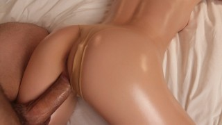 Amazing Babe Gets Creampied - Oiled Sex