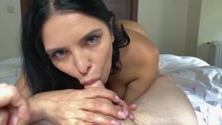 Giving hot busty MILF Kira Queen a creampie