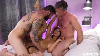 April Olsen Joins Lance Hart & Johnny Hill in Bi Bareback Threesome
