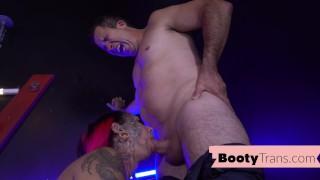 Big booty trans stripper blows before bareback
