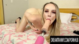 Tiny Blonde TS Babe Clara Ludovice Rubs Her Big Cock and Rides a Machine