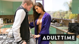 ADULT TIME Step-MILF Reena Sky Fucks Her New Stepson On The Kitchen Counter!