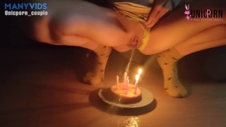 BLOW UP THE CANDLE WITH MY PEE AND TASTE IT   Happy Birtday to me!   PISS AMATEUR UNICPORN COUPLE