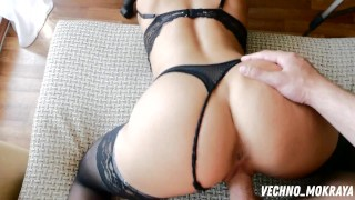 shows off her new dress and jumps on a hard cock