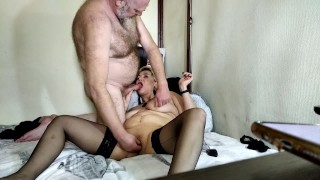 My Busty Mature Slut Sucks My Dick! My wife is hot in bed! My wife is whore! All jerk off and envy!