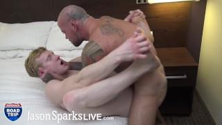 JASON SPARKS LIVE - Muscle stud power fucks smooth ginger boy