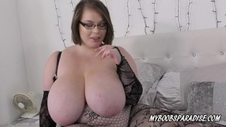 BBW Georgina Gee in bodystocking plays with huge tits