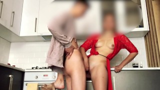 Hot stepmom helped to cum and allowed to touch her pussy