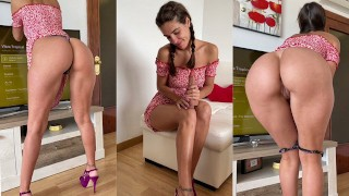 Housewife premiering dildo! can't help but taste it - miss pasion