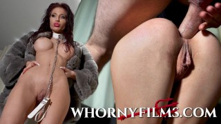 Submissive babe on a leash getting ass pounded and face fucked hard -WHORNY FILMS