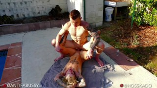 Sexy Bi Big Dick Daddy Muscle Hunk & Hot Trans Male FTM Outdoor Passionate Sex Fucking By The Pool