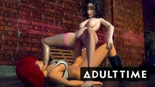F.U.T.A. Sentai Squad | Big Tit Redhead's Futanari Cock Gushes with Cum During Creampie