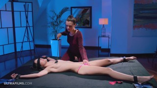 ULTRAFILMS Anie Darling and Hayli Sanders playing with each other with fetish accessories and toys