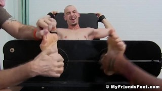 Restrained Angelo endures body and feet tickling from dom