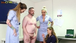 CFNM femdom group humiliating small dick