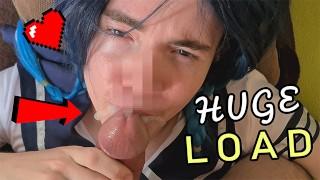 Cum Slut sucks fat cock and gets hot load into mouth - prettyboi2000x