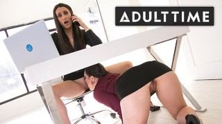 ADULT TIME - Georgia Jones Scissors With Boss Sinn Sage While On The Phone With Her Husband