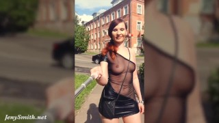 Summer Walk. Jeny Smith walking in public with the transparent dress