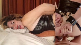 Busty tied up MILF with sexy long boot is subdued, whipped and fucked in the ass. Anal creampie.