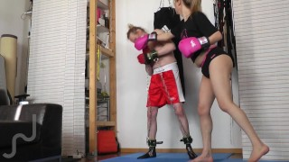 Box-Training Face Busting + Hard-Bare-Assfuck at the end (Shemale Domme, male sub)