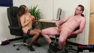 Bigtit british cfnm domme instructing guy in office to jerk