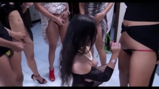 Thai Ladyboys Orgy sucking each other cocks for fun and for work cum to this party