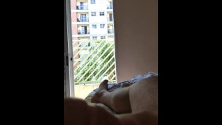 Window naked Flashing dick for curious neighbors