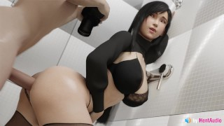 Tifa Analy Creampied in Bathroom (with sound) 3d animation hentai ASMR anime anal Final Fantasy
