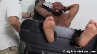 Bearded black hunk restrained for body tickling tormenting