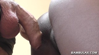 Big white cock makes ebony tight pussy fart and cum inside