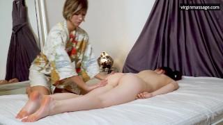 Big tits brunette babe Daria Kuka massaged