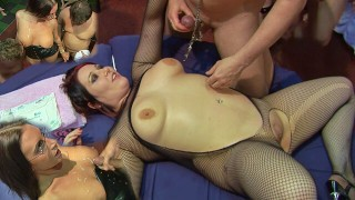 Ripping Kaciess fishnets while Emma takes multiple cumshots over her tits