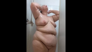 Plus Size Cutie Secretly Plays With Herself in Shower