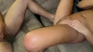 Hotwife sucking the husband off while getting fucked by  BBC fuck buddy