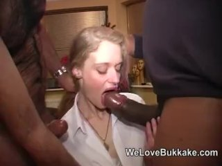 Amateur sucks a huge black cock