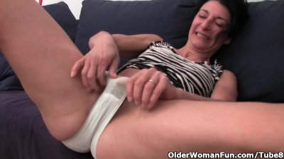 Furry granny has a soaked spot in her panties