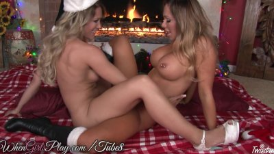When Women Play – Two busty lesbo girls heat up by the hearth