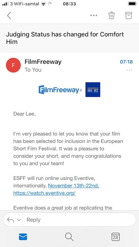 Film Freeway email for European Short Film Fest