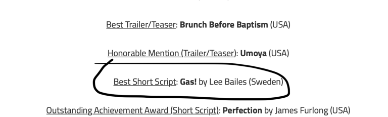 Screengrab of the Indie Shorts Fest announcement