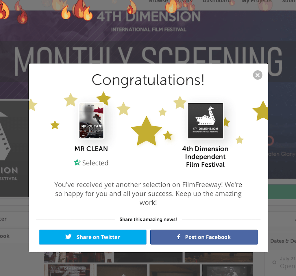 MR CLEAN is an official selection of the 4th Dimension Idependent Film Festival notification