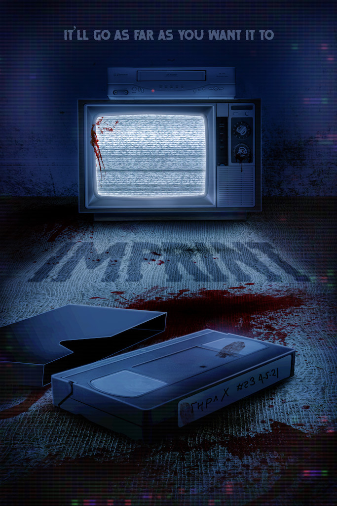 IMPRINT.poster - bloody video tape and TV playing static