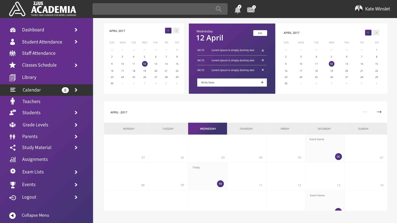 Zeus Academia – Calendar