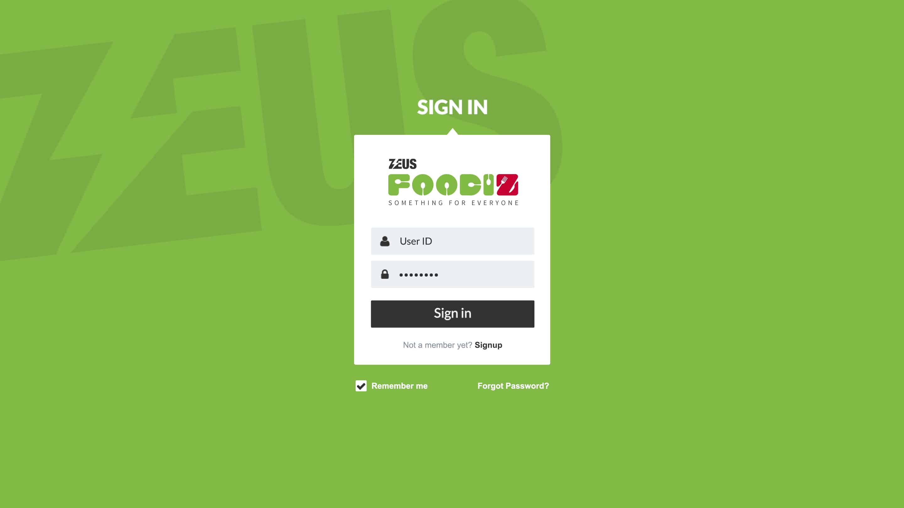 Zeus Foodiz – Login