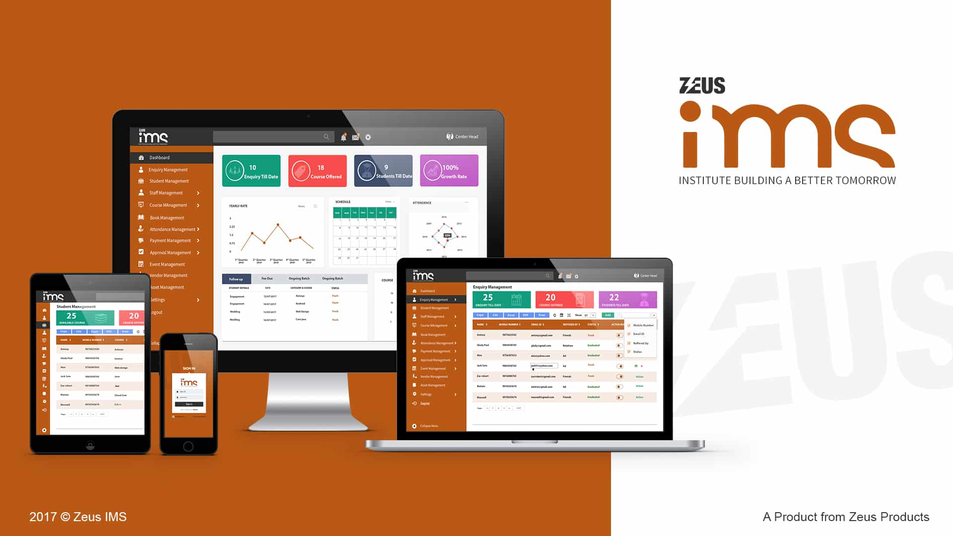 Zeus Institutions management Mock up crm