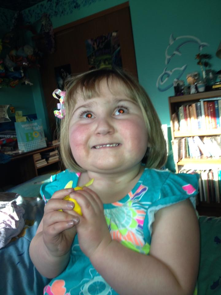 We have the granddaughter tonight! She got a cute new haircut.